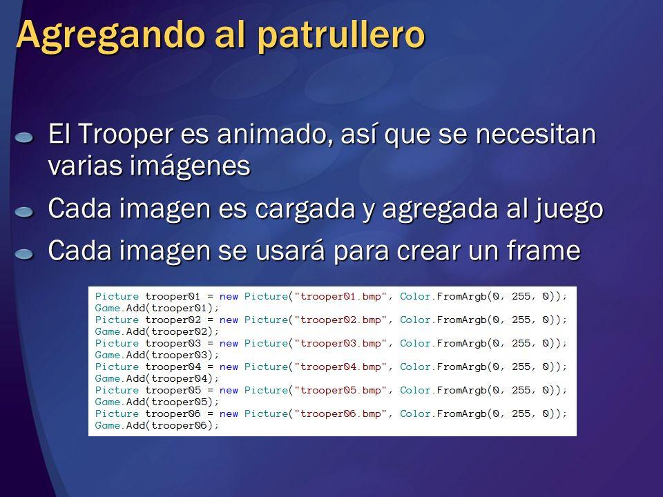 Agregando al patrullero El Trooper es animado, así que se necesitan varias imágenes Cada imagen es cargada y agregada al juego Cada imagen se usará pa