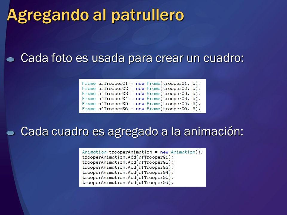 Agregando al patrullero Cada foto es usada para crear un cuadro: Cada cuadro es agregado a la animación: