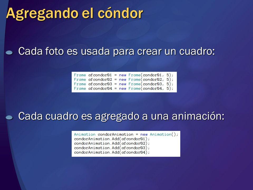 Agregando el cóndor Cada foto es usada para crear un cuadro: Cada cuadro es agregado a una animación: