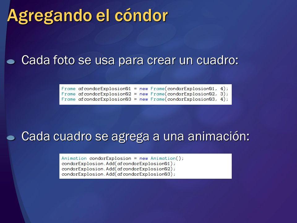 Agregando el cóndor Cada foto se usa para crear un cuadro: Cada cuadro se agrega a una animación: