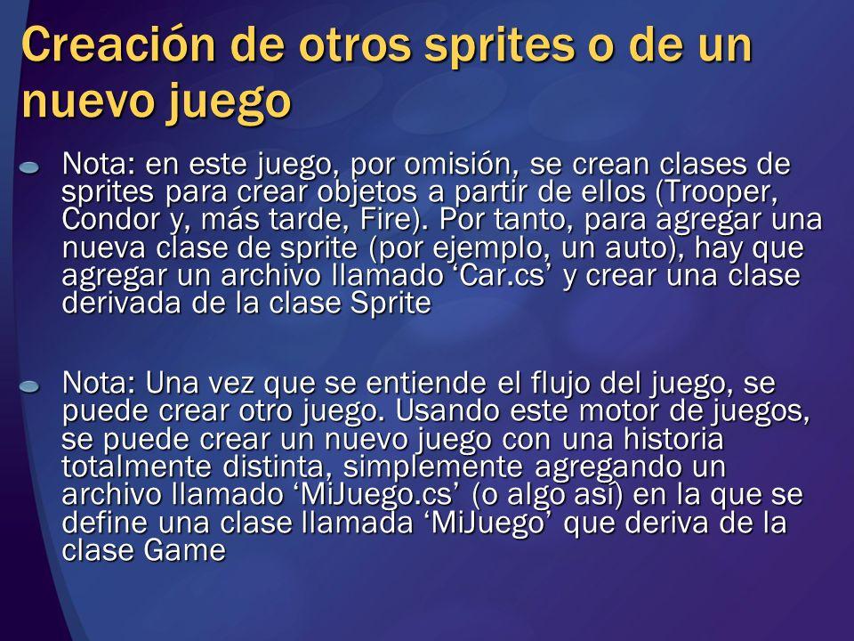 Creación de otros sprites o de un nuevo juego Nota: en este juego, por omisión, se crean clases de sprites para crear objetos a partir de ellos (Troop