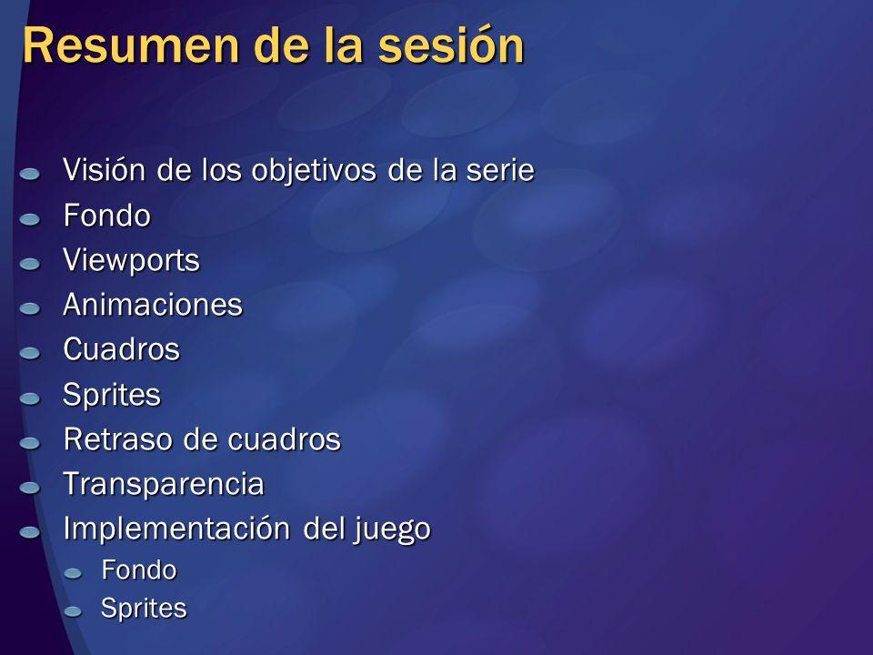 Resumen de la sesión Visión de los objetivos de la serie FondoViewportsAnimacionesCuadrosSprites Retraso de cuadros Transparencia Implementación del j