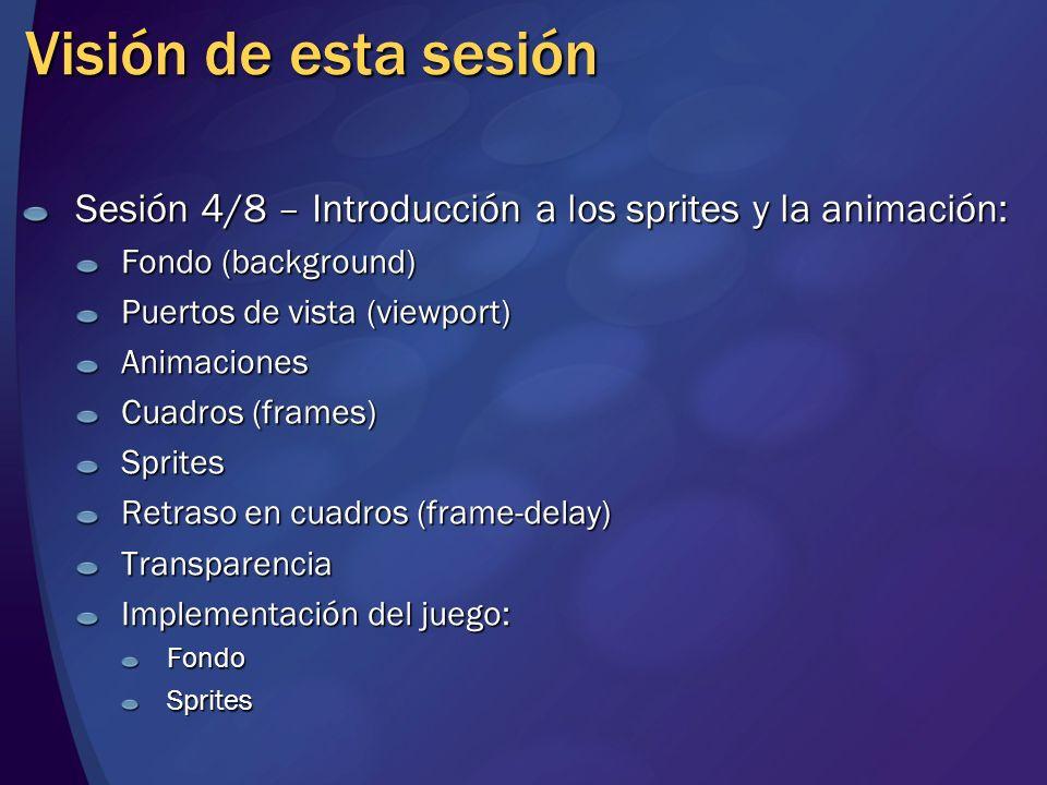 Visión de esta sesión Sesión 4/8 – Introducción a los sprites y la animación: Fondo (background) Puertos de vista (viewport) Animaciones Cuadros (fram