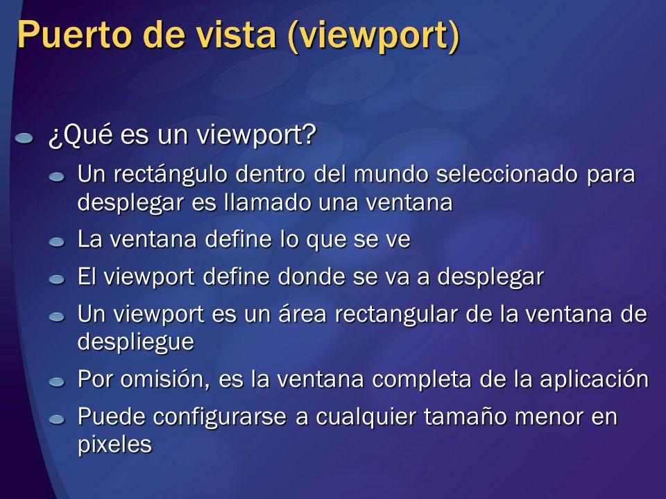 Puerto de vista (viewport) ¿Qué es un viewport? Un rectángulo dentro del mundo seleccionado para desplegar es llamado una ventana La ventana define lo