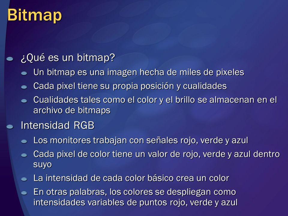 Bitmap ¿Qué es un bitmap? Un bitmap es una imagen hecha de miles de pixeles Cada pixel tiene su propia posición y cualidades Cualidades tales como el