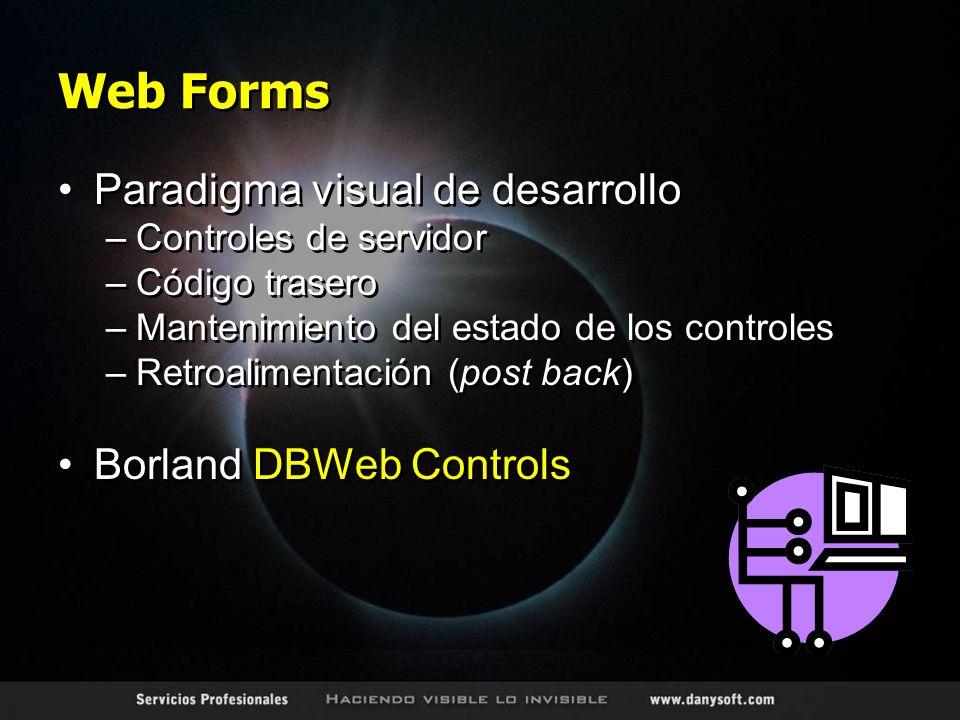 Web Forms Paradigma visual de desarrollo –Controles de servidor –Código trasero –Mantenimiento del estado de los controles –Retroalimentación (post back) Borland DBWeb Controls Paradigma visual de desarrollo –Controles de servidor –Código trasero –Mantenimiento del estado de los controles –Retroalimentación (post back) Borland DBWeb Controls