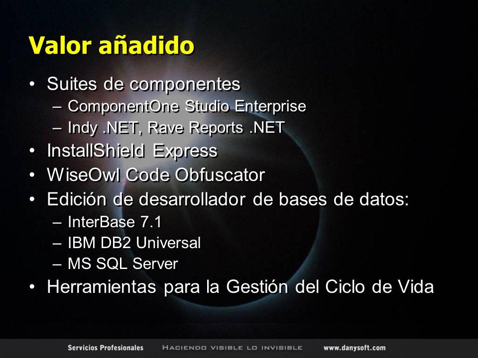 Valor añadido Suites de componentes –ComponentOne Studio Enterprise –Indy.NET, Rave Reports.NET InstallShield Express WiseOwl Code Obfuscator Edición de desarrollador de bases de datos: –InterBase 7.1 –IBM DB2 Universal –MS SQL Server Herramientas para la Gestión del Ciclo de Vida Suites de componentes –ComponentOne Studio Enterprise –Indy.NET, Rave Reports.NET InstallShield Express WiseOwl Code Obfuscator Edición de desarrollador de bases de datos: –InterBase 7.1 –IBM DB2 Universal –MS SQL Server Herramientas para la Gestión del Ciclo de Vida