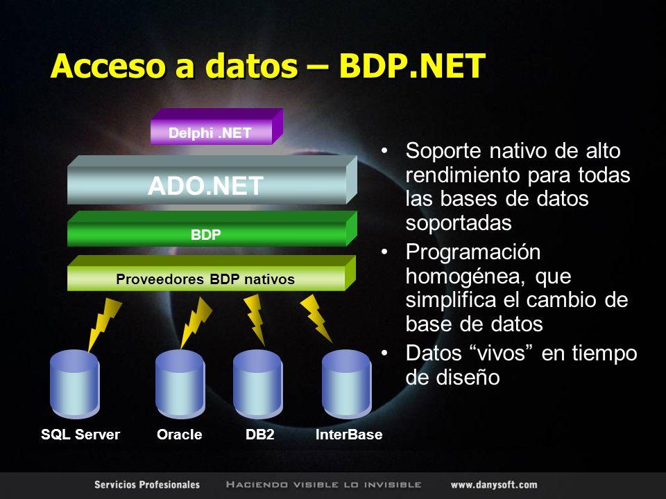 Acceso a datos – BDP.NET Soporte nativo de alto rendimiento para todas las bases de datos soportadas Programación homogénea, que simplifica el cambio