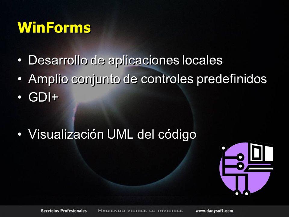 WinForms Desarrollo de aplicaciones locales Amplio conjunto de controles predefinidos GDI+ Visualización UML del código Desarrollo de aplicaciones locales Amplio conjunto de controles predefinidos GDI+ Visualización UML del código