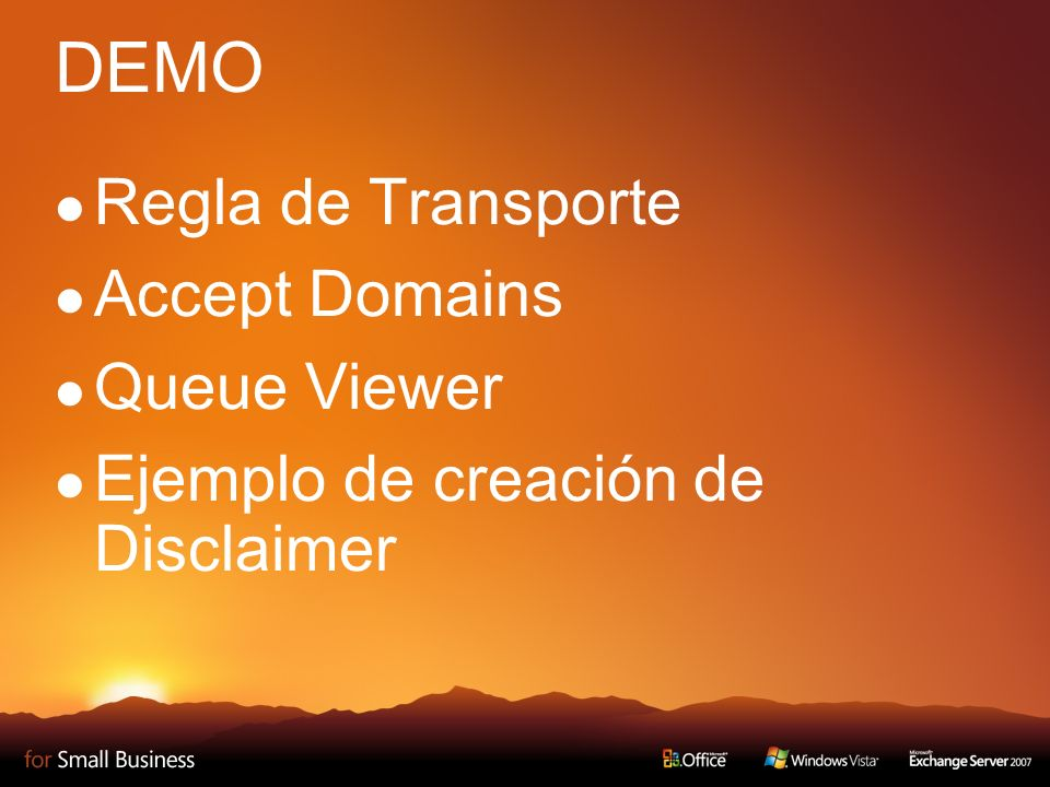DEMO Regla de Transporte Accept Domains Queue Viewer Ejemplo de creación de Disclaimer