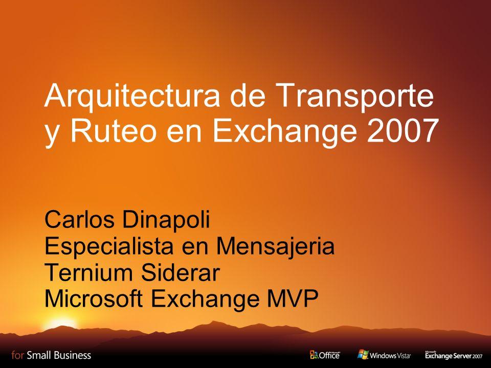 Arquitectura de Transporte y Ruteo en Exchange 2007 Carlos Dinapoli Especialista en Mensajeria Ternium Siderar Microsoft Exchange MVP