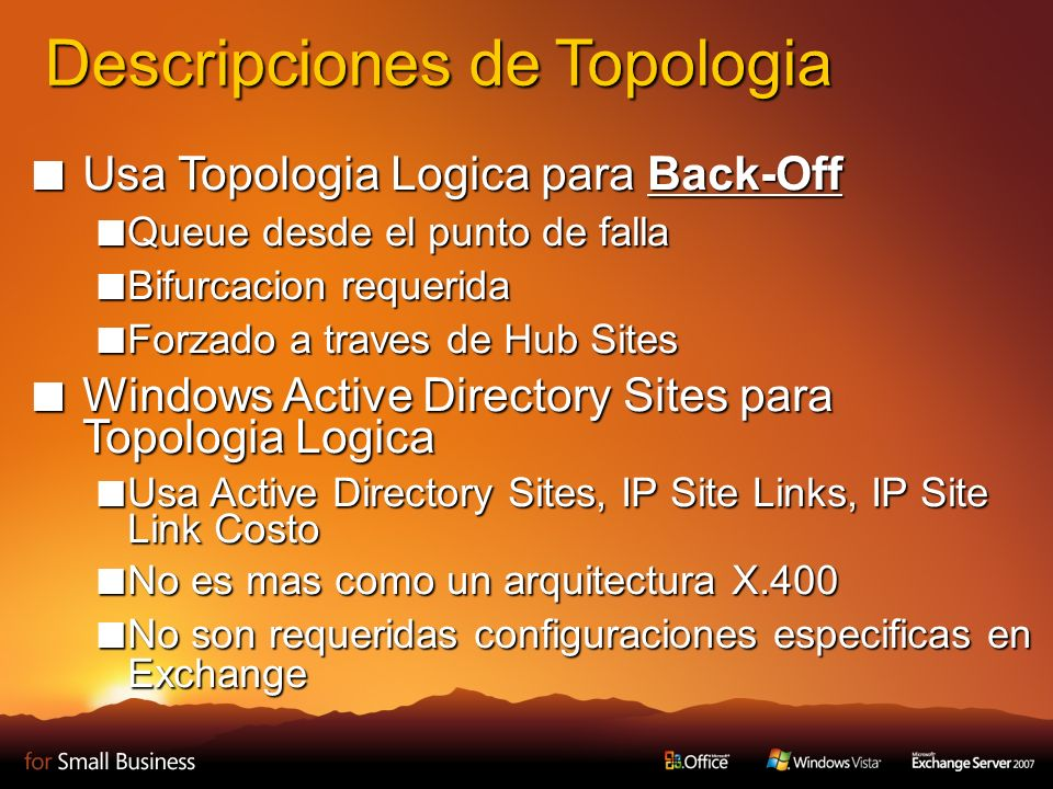 Descripciones de Topologia Usa Topologia Logica para Back-Off Usa Topologia Logica para Back-Off Queue desde el punto de falla Queue desde el punto de