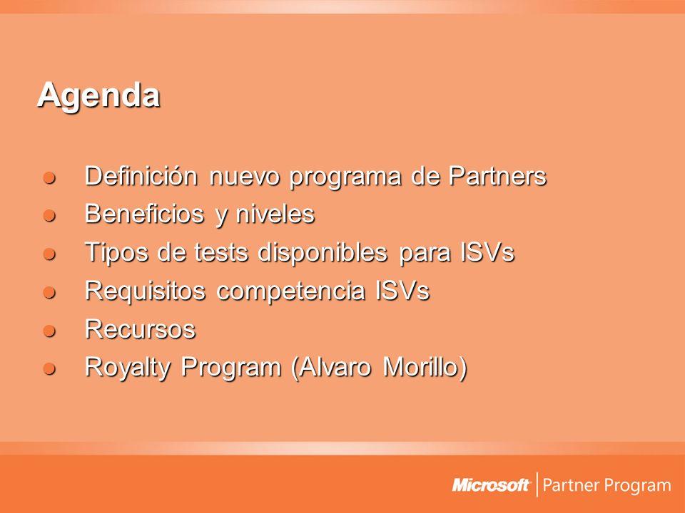 Agenda Definición nuevo programa de Partners Definición nuevo programa de Partners Beneficios y niveles Beneficios y niveles Tipos de tests disponible