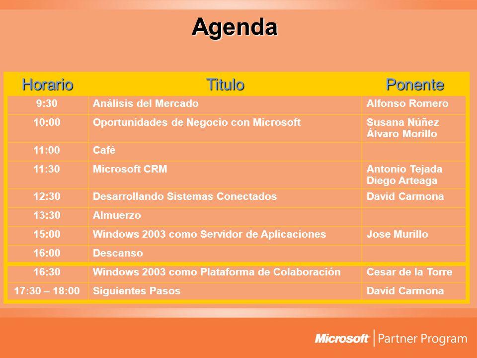 Agenda HorarioTituloPonente 9:30Análisis del MercadoAlfonso Romero 10:00Oportunidades de Negocio con MicrosoftSusana Núñez Álvaro Morillo 11:00Café 11