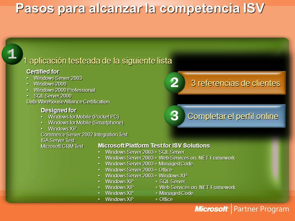 Pasos para alcanzar la competencia ISV 1 aplicación testeada de la siguiente lista Microsoft Platform Test for ISV Solutions Windows Server 2003 + SQL