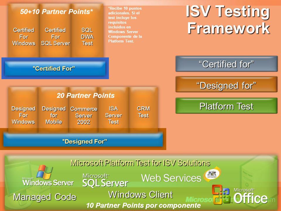 ISV Testing Framework Microsoft Platform Test for ISV Solutions Managed Code Windows Client Certified For Windows Certified For SQL Server SQLDWATest