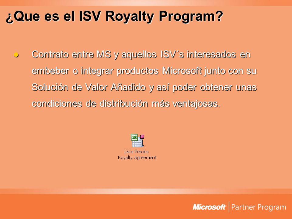 ¿Que es el ISV Royalty Program? Contrato entre MS y aquellos ISV´s interesados en embeber o integrar productos Microsoft junto con su Solución de Valo