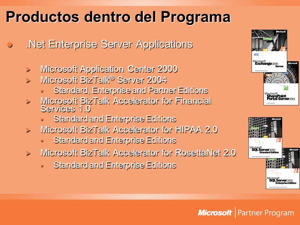 Productos dentro del Programa.Net Enterprise Server Applications.Net Enterprise Server Applications Microsoft Application Center 2000 Microsoft Applic