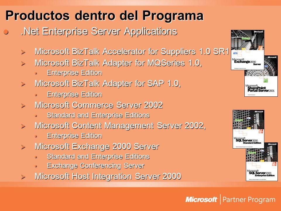 Productos dentro del Programa.Net Enterprise Server Applications.Net Enterprise Server Applications Microsoft BizTalk Accelerator for Suppliers 1.0 SR