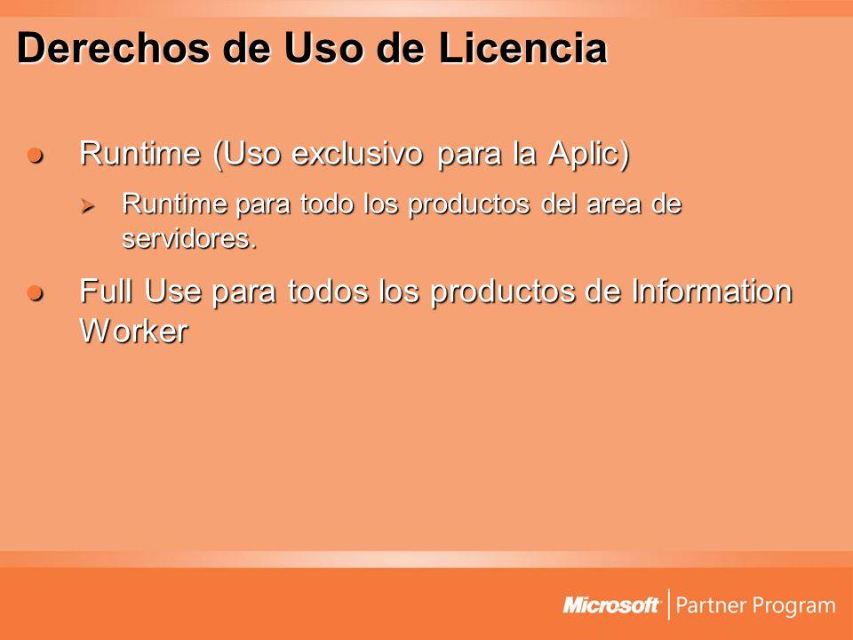 Derechos de Uso de Licencia Runtime (Uso exclusivo para la Aplic) Runtime (Uso exclusivo para la Aplic) Runtime para todo los productos del area de se