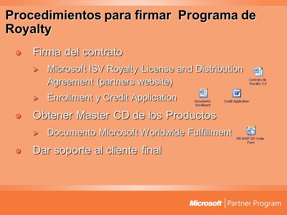 Procedimientos para firmar Programa de Royalty Firma del contrato Firma del contrato Microsoft ISV Royalty License and Distribution Agreement (partner