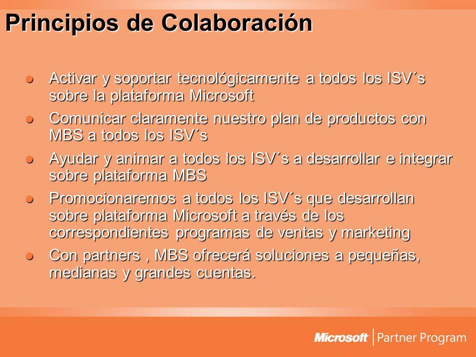 Partnering Principles Activar y soportar tecnológicamente a todos los ISV´s sobre la plataforma Microsoft Activar y soportar tecnológicamente a todos