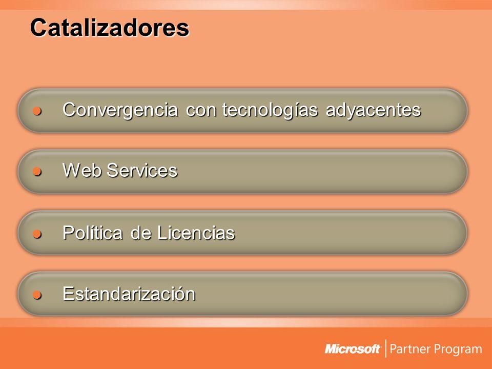 Web Services Web Services Política de Licencias Política de Licencias Estandarización Estandarización Convergencia con tecnologías adyacentes Converge