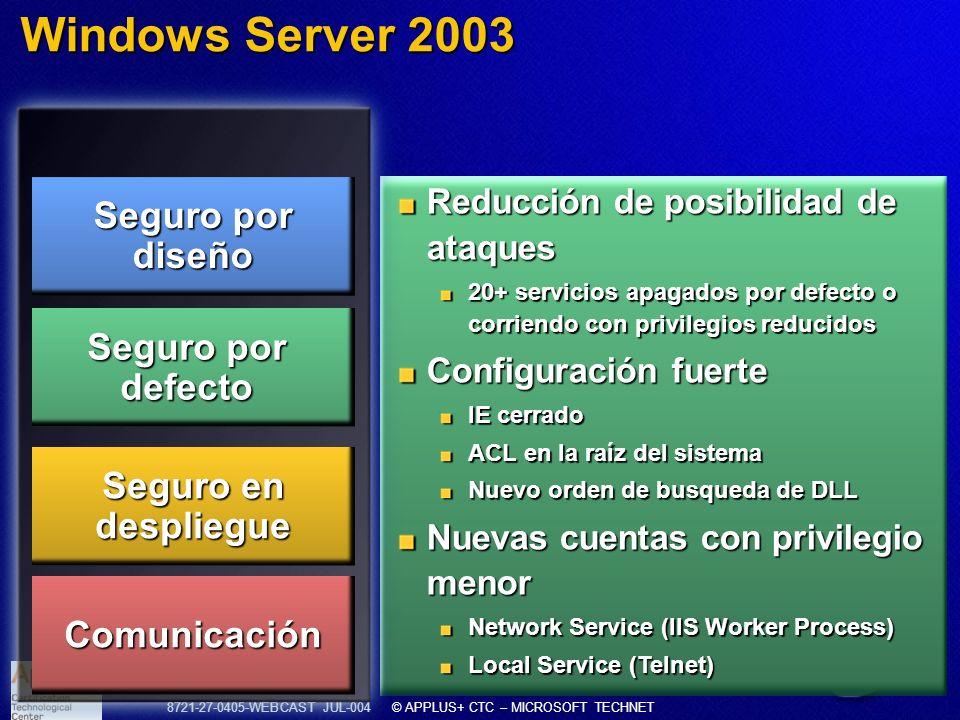 8721-27-0405-WEBCAST JUL-004 © APPLUS+ CTC – MICROSOFT TECHNET Windows Server 2003 Reducción de posibilidad de ataques 20+ servicios apagados por defe