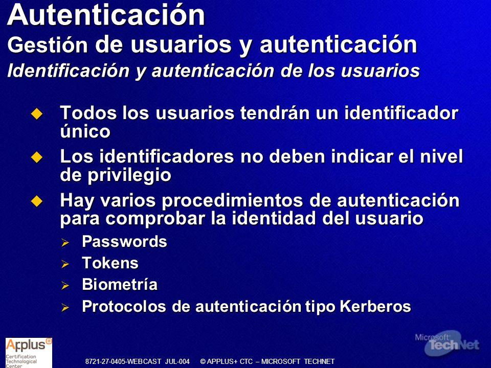 8721-27-0405-WEBCAST JUL-004 © APPLUS+ CTC – MICROSOFT TECHNET Todos los usuarios tendrán un identificador único Todos los usuarios tendrán un identif