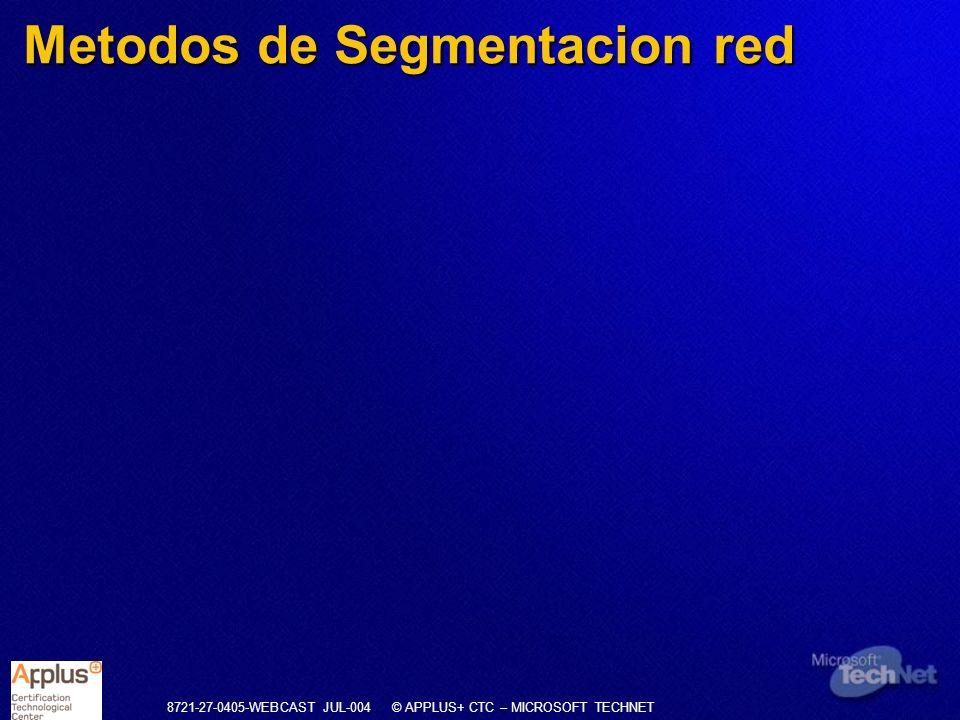 8721-27-0405-WEBCAST JUL-004 © APPLUS+ CTC – MICROSOFT TECHNET Metodos de Segmentacion red