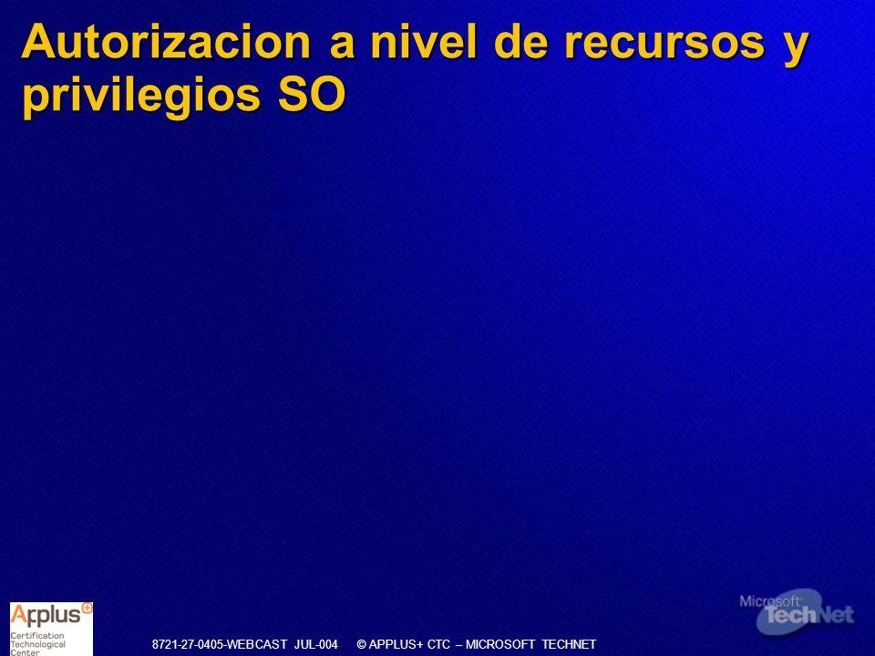 8721-27-0405-WEBCAST JUL-004 © APPLUS+ CTC – MICROSOFT TECHNET Autorizacion a nivel de recursos y privilegios SO
