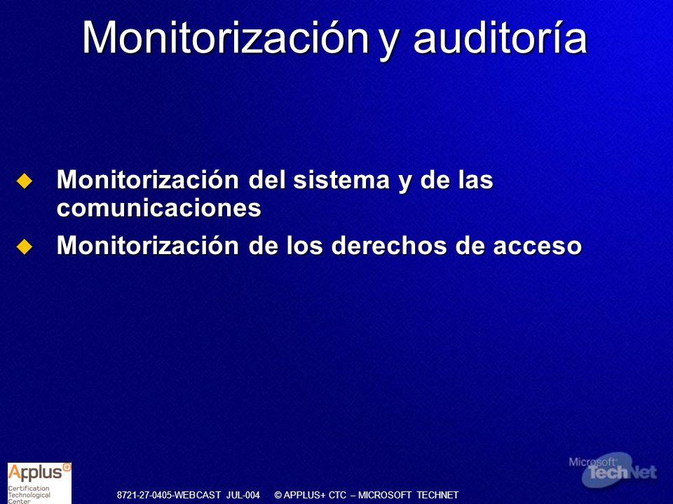 8721-27-0405-WEBCAST JUL-004 © APPLUS+ CTC – MICROSOFT TECHNET Monitorización del sistema y de las comunicaciones Monitorización del sistema y de las
