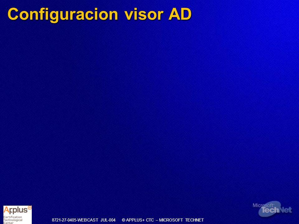 8721-27-0405-WEBCAST JUL-004 © APPLUS+ CTC – MICROSOFT TECHNET Configuracion visor AD
