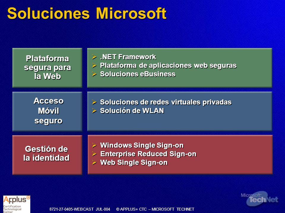 8721-27-0405-WEBCAST JUL-004 © APPLUS+ CTC – MICROSOFT TECHNET Soluciones Microsoft.NET Framework.NET Framework Plataforma de aplicaciones web seguras