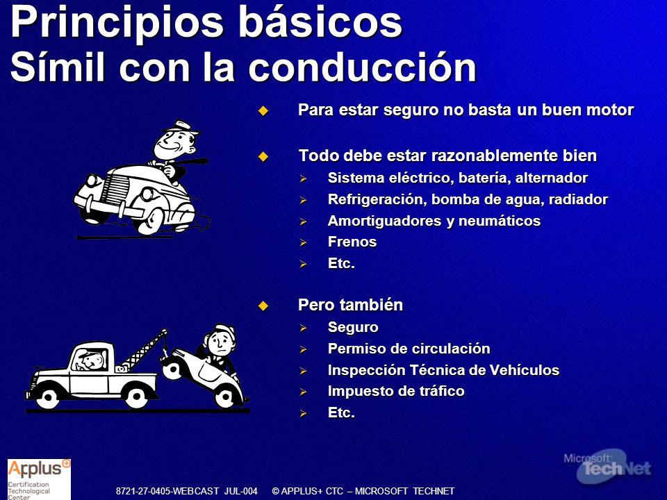 8721-27-0405-WEBCAST JUL-004 © APPLUS+ CTC – MICROSOFT TECHNET Principios básicos Símil con la conducción Para estar seguro no basta un buen motor Par