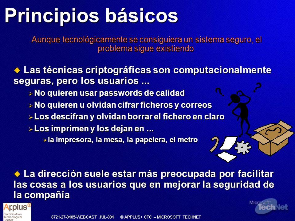 8721-27-0405-WEBCAST JUL-004 © APPLUS+ CTC – MICROSOFT TECHNET Prevención Detección Represión Corrección Evaluación Riesgo Incidente Daños Recuperación Cómo se aplica la Norma Tipos de controles