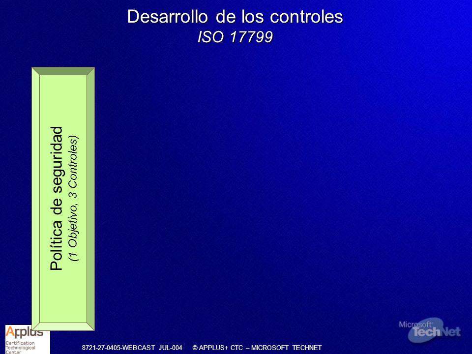 8721-27-0405-WEBCAST JUL-004 © APPLUS+ CTC – MICROSOFT TECHNET Desarrollo de los controles ISO 17799 Política de seguridad (1 Objetivo, 3 Controles) Estructura organizativa (3 Objetivo, 10 Controles) Clasificación de activos (1 Objetivo, 3 Controles) Seguridad del personal (3 Objetivo, 10 Controles) Seguridad física (3 Objetivo, 13 Controles)