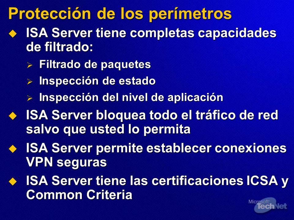 Protección de los perímetros ISA Server tiene completas capacidades de filtrado: ISA Server tiene completas capacidades de filtrado: Filtrado de paque