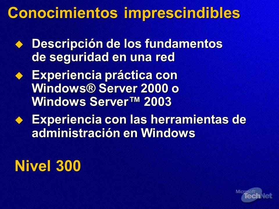 Conocimientos imprescindibles Descripción de los fundamentos de seguridad en una red Descripción de los fundamentos de seguridad en una red Experienci
