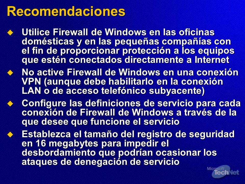 Utilice Firewall de Windows en las oficinas domésticas y en las pequeñas compañías con el fin de proporcionar protección a los equipos que estén conec