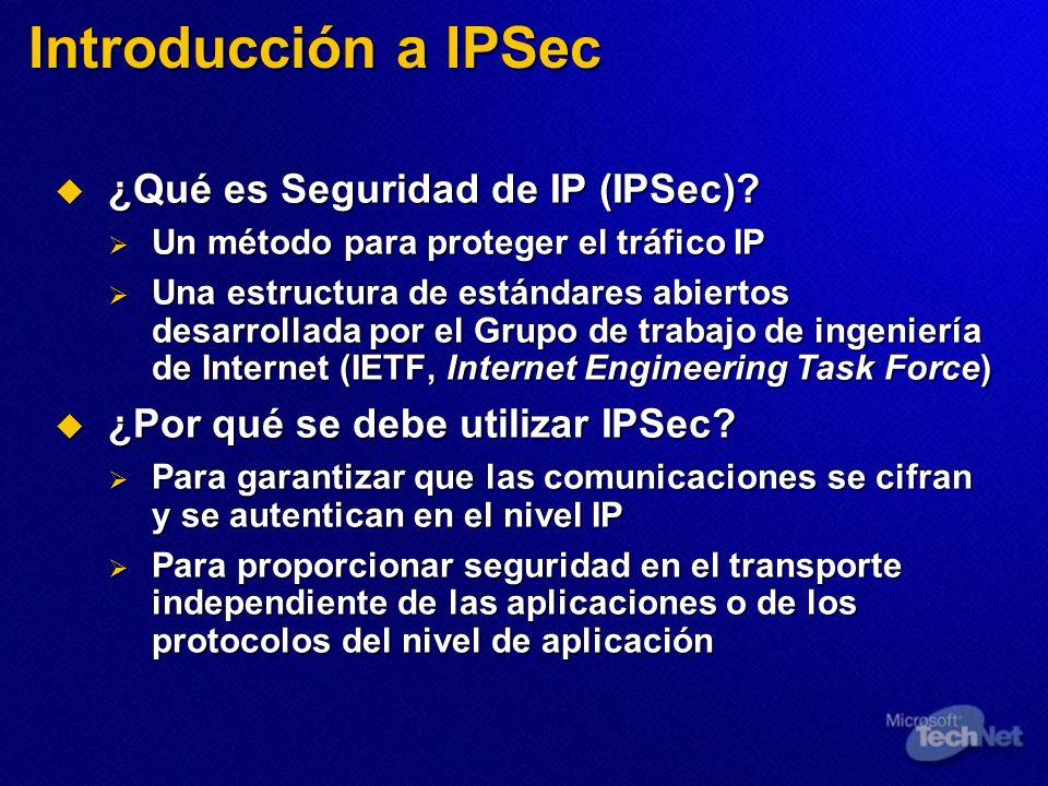 ¿Qué es Seguridad de IP (IPSec)? ¿Qué es Seguridad de IP (IPSec)? Un método para proteger el tráfico IP Un método para proteger el tráfico IP Una estr