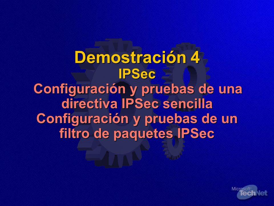 Demostración 4 IPSec Configuración y pruebas de una directiva IPSec sencilla Configuración y pruebas de un filtro de paquetes IPSec