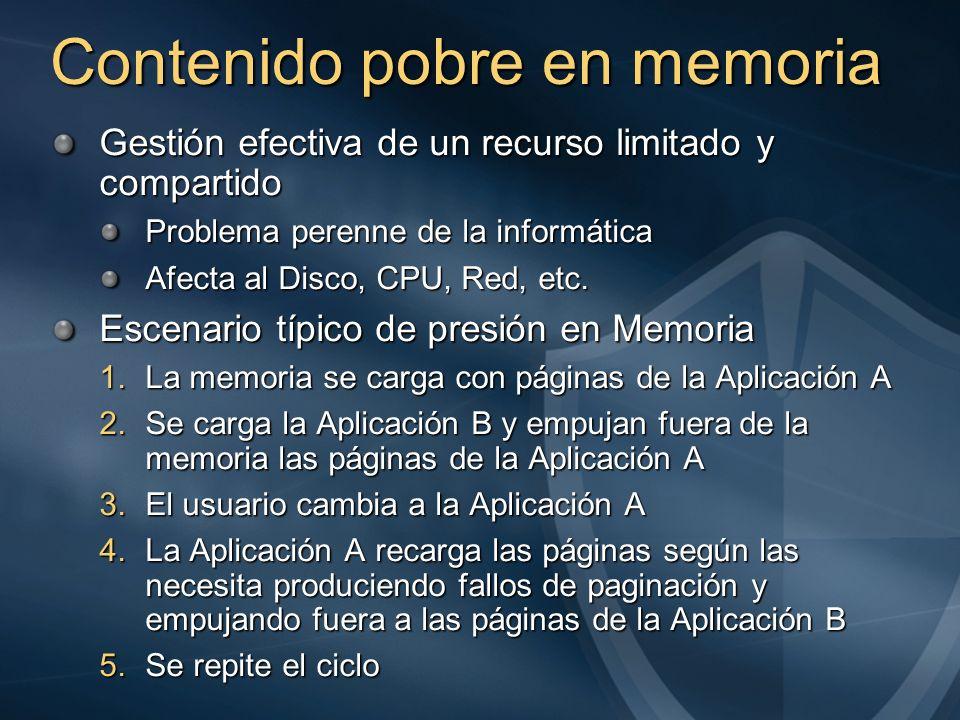 Contenido pobre en memoria Gestión efectiva de un recurso limitado y compartido Problema perenne de la informática Afecta al Disco, CPU, Red, etc. Esc