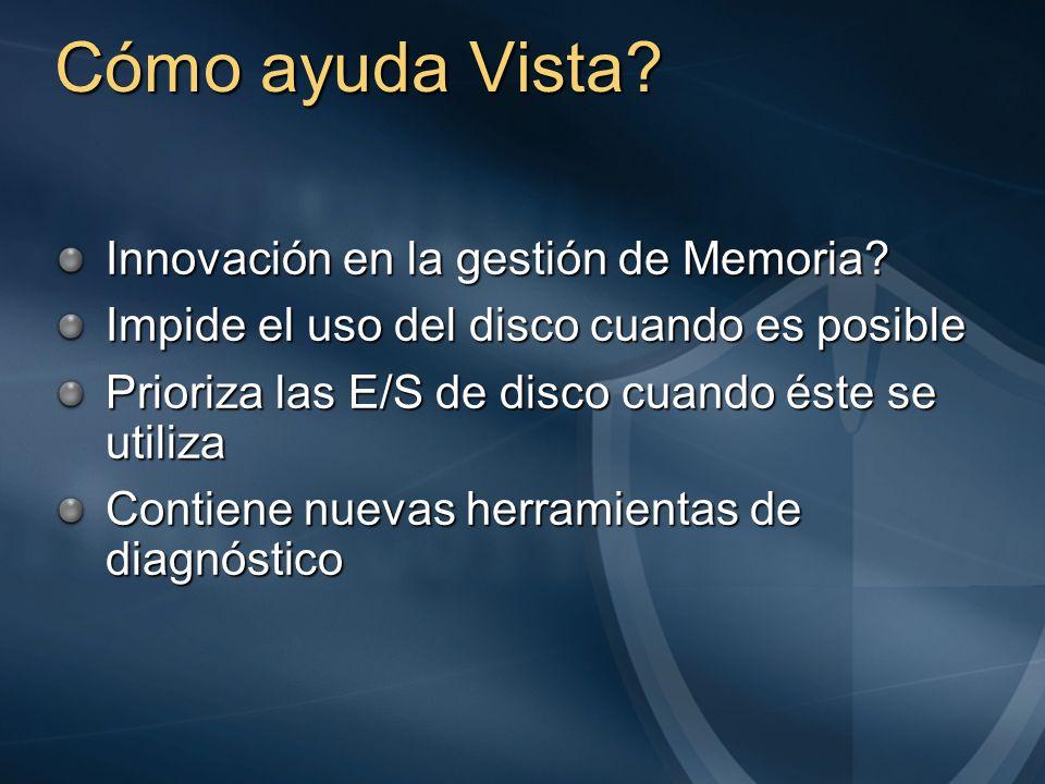 Cómo ayuda Vista? Innovación en la gestión de Memoria? Impide el uso del disco cuando es posible Prioriza las E/S de disco cuando éste se utiliza Cont