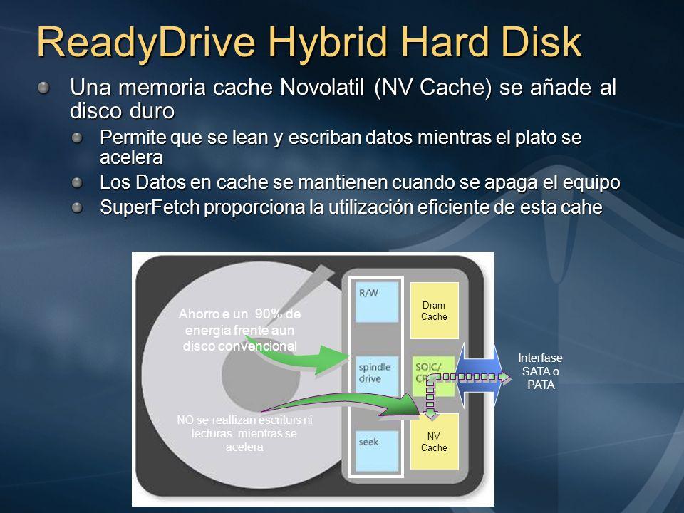 ReadyDrive Hybrid Hard Disk Una memoria cache Novolatil (NV Cache) se añade al disco duro Permite que se lean y escriban datos mientras el plato se ac