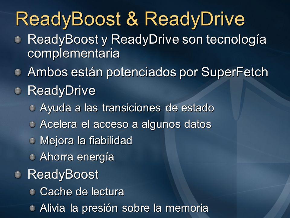 ReadyBoost & ReadyDrive ReadyBoost y ReadyDrive son tecnología complementaria Ambos están potenciados por SuperFetch ReadyDrive Ayuda a las transicion