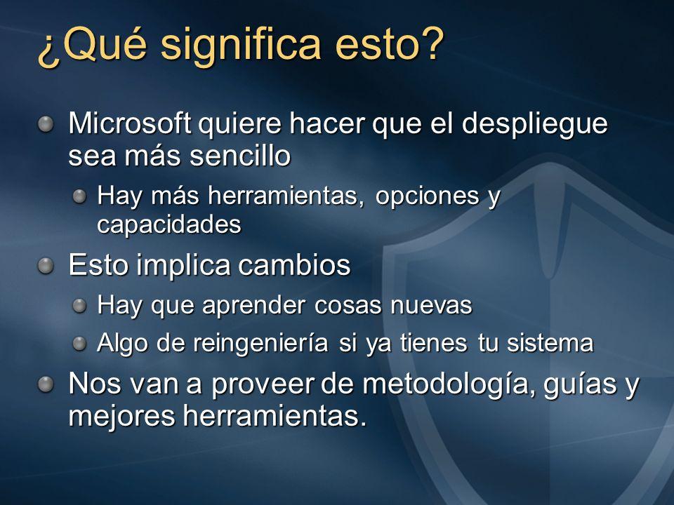 ¿Qué significa esto? Microsoft quiere hacer que el despliegue sea más sencillo Hay más herramientas, opciones y capacidades Esto implica cambios Hay q