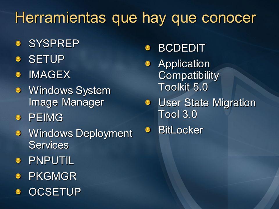 SYSPREPSETUPIMAGEX Windows System Image Manager PEIMG Windows Deployment Services PNPUTILPKGMGROCSETUP BCDEDIT Application Compatibility Toolkit 5.0 U
