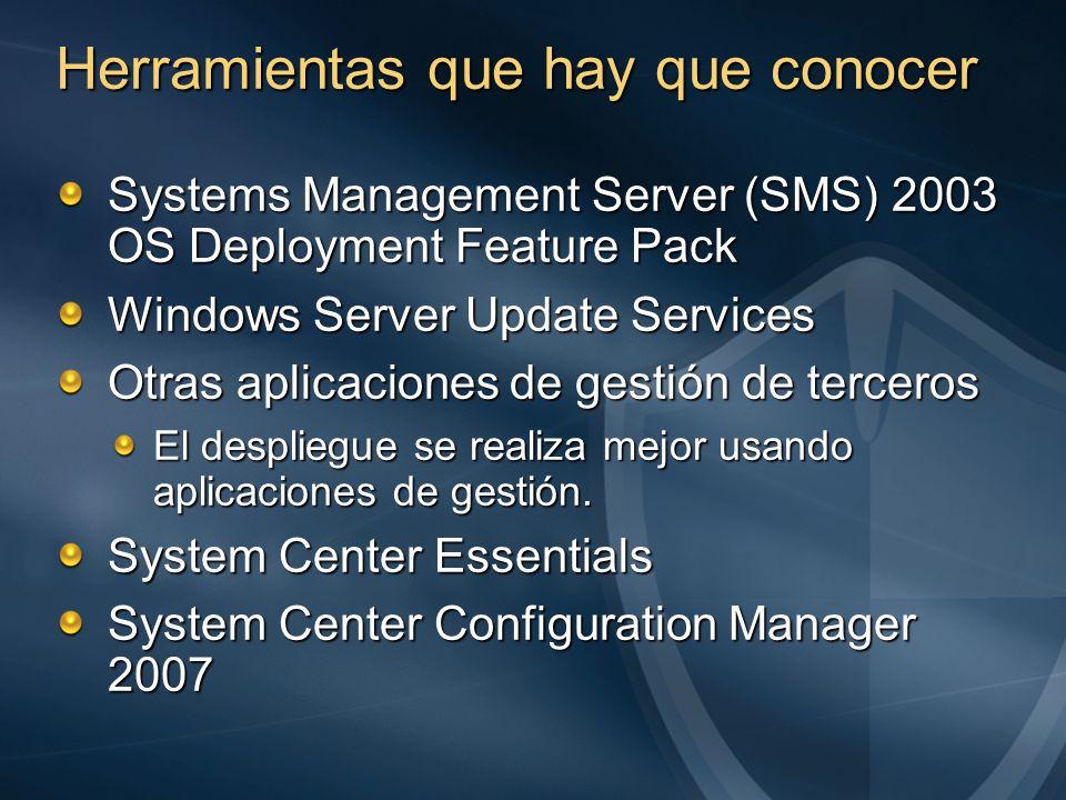 Systems Management Server (SMS) 2003 OS Deployment Feature Pack Windows Server Update Services Otras aplicaciones de gestión de terceros El despliegue
