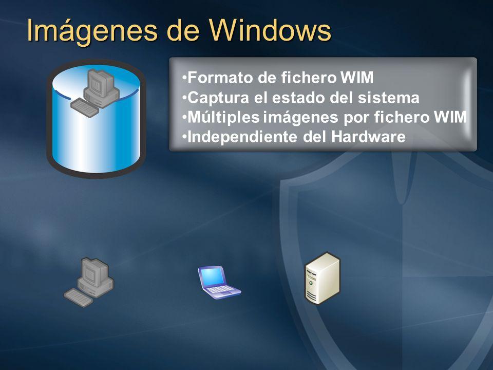 Imágenes de Windows Formato de fichero WIM Captura el estado del sistema Múltiples imágenes por fichero WIM Independiente del Hardware